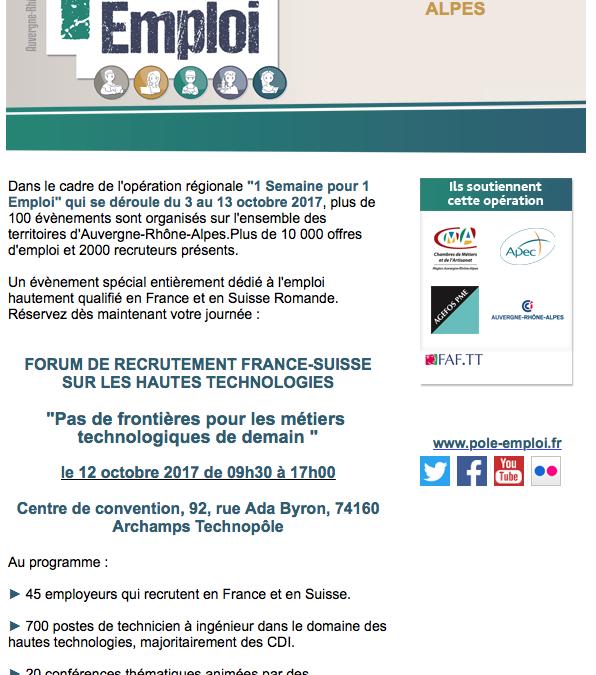 12 octobre : Forum des métiers technologiques à Archamps
