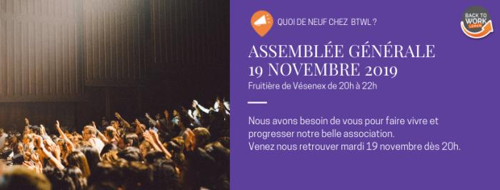 [Quoi de neuf chez BTWL ?] Assemblée générale 19 novembre